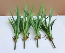 4 Butterfly Orchid Grasses Artificial Lifelike Plants Plastic Leaf Home Decor