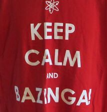 Keep Calm and Bazinga Big Bang Theory Tshirt Sheldon Cooper Large