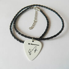 "ED SHEERAN Christopher Guitar Pick signature gold stamped 20"" leather NECKLACE"