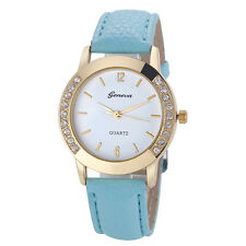 Geneva Fashion Women Watch Crystal Analog Leather Quartz Wrist Watches Sky Blue