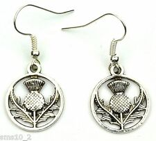 Hand Made Silver Colour Thistle Earrings HCE359