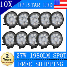 10X27W LED Work Light Round Spot Beam Off-road Driving Fog Lamp Truck ATV 48/18W