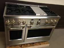 "GE Monogram ZGP486NDRSS 48"" Gas Range Professional Stove 6 Burners + Griddle"