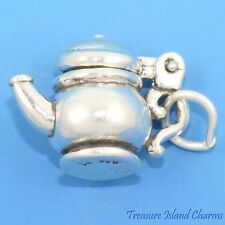 TEA POT TEAPOT MOVABLE Moveable 3D .925 Solid Sterling Silver Charm LID OPENS