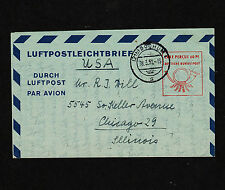 1952 Germany Luftpostbrief Aerogram Taxe Percue 60 Pf. LF6 US Zone