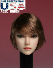 1/6 American European Female Head Sculpt SHORT HAIR For Hot Toys Phicen U.S.A.