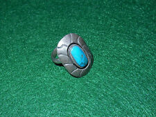 Vintage Sterling Silver & Turquoise Ring Antique Old sz 5 1/4 Offset Oval Shield