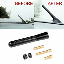 3'' Universal Car Carbon Fiber Aluminum Screw Radio Black Short Short Antenna