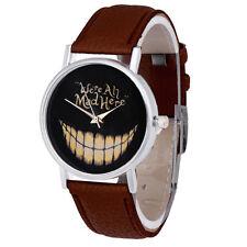 New Alice in Wonderland Cheshire Cat Were all Mad Here Quartz Watch Brown Strap