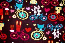 BIKES TRIKES BICYCLE-BUILT-FOR-TWO WITH ANIMALS FLEECE MATERIAL 2 YDS 60 X 72""