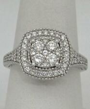 NEW LADIES 14K WHITE GOLD 3/4ct ROUND DIAMOND SQUARE HALO ENGAGEMENT RING SI1 GH