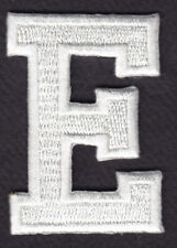 "LETTERS - WHITE BLOCK LETTER ""E"" (1 7/8"") - Iron On Embroidered Applique Patch"