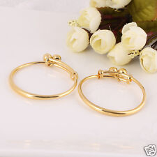 2pcs 24k Yellow Gold Filled Baby's Bangle Polished Bracelet Jewelry With Bells