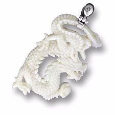 Drachen ECHT Silber Knochen weiss Amulett Design Anhänger Handarbeit PB307