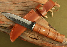 Handmade Forged High carbon Damascus Wood Handle Hunting Knife H49