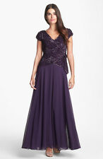 $278  Sz. 14   J Kara Embellished Faux Wrap Gown  Mother Of The Bride / Groom