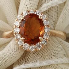 Estate 2.35Ct Natural Madeira Citrine and Diamond 14K Solid Rose Gold Ring
