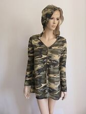 OLIVE ARMY CAMOUFLAGE TAN HOODIE LONG SLEEVE TUNIC SWEATER TOP WOMAN SIZE S
