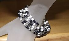Hematite White Crystal Beaded Wrap Coil Bracelet - USA Made / Ship - Glass Beads