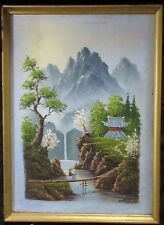 "Antique Japanese Oil Canvas Painting Landscape Signed ""Sons"" Asian Chinese"
