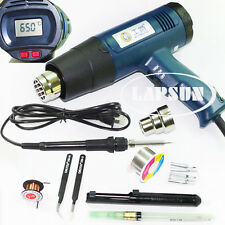 2000W 630°C LCD Electronic Heat Hot Air Gun 8020E 60W 708 Soldering Iron Kit Set