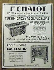 PUBLICITE POELE A BOIS EXCELSIOR CHALOT CUSINIERE GAZ   advertising 1924