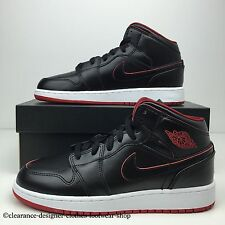 NIKE AIR JORDAN 1 MID BG TRAINERS WOMENS GIRLS LADIES BLACK SHOES UK 5.5 RRP £95