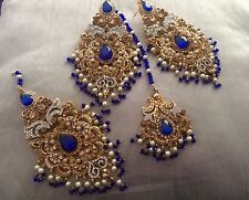 Indian jewelry Tika Earrings Jhumar Copper, Blue gold Pearl