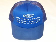 Vintage Chevrolet Saying Blue Cap Hat - VG Cond