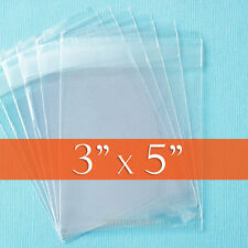 "500 Clear Cellophane Bags, 3"" x 5"", Resealable Adhesive Cello Bulk Buy"