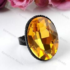 1x Faceted Oval Crystal Glass Black Yellow Charm Finger Ring US7 Adjustable Gift