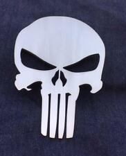 Grill Badge Emblem Billet Punisher Logo Aluminum Satin Brushed Clear Powder Coat