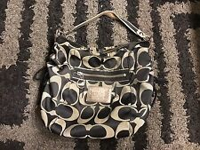 COACH POPPY SIGNATURE SATEEN JAZZY HOBO Black Convertible Cross body Purse