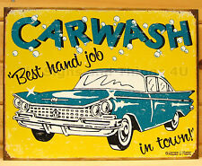 Car Wash Best Hand Job FUNNY TIN SIGN garage bar vintage retro wall decor 1190