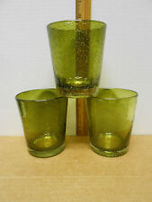Set of 3 Bambeco HAND CRAFTED Green 12oz recycled glass tumblers in original box