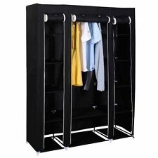 TRIPLE CANVAS WARDROBE CLOTHES HANGING RAIL HOME STORAGE CUPBOARD SHELVES BLACK