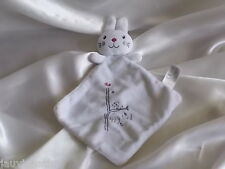 Doudou Lapin plat, blanc, broderie , Nicotoy