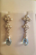 Genuine 18K WG 1 Carat (approx. .9) Diamond & Aquamarine Briolette Drop Earrings