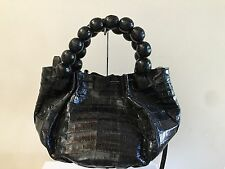 NANCY GONZALEZ Crocodile Beaded Handle Satchel Bag Handbag, Black