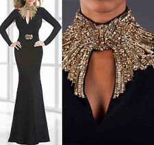 Hot High Collar Black Evening Gown Beading Formal Pageant Mermaid Prom Dresses