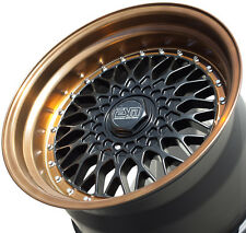 "17X8.5 17X10 +15 ESM 002 5X100 5X114.3 BLACK BRONZE WHEELS 4"" LIP 5X4.5 STANCE"