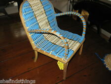 Vintage Bamboo RATTAN Plastic Gimp Woven DOLL Chair OUTDOOR PATIO FURNITURE