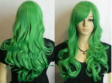 Ladies Lolita Green Long wavy Curly Anime Cosplay Hair Wigs + wig cap