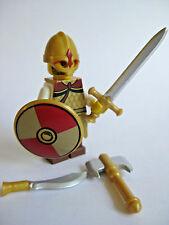 Lego Custom VIKING WARRIOR Minifigure with Custom Weapons and Armor -Gold Shield