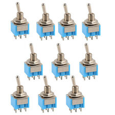 New 10 Pcs Mini Blue MTS-203 6-Pin DPDT ON-OFF-ON Toggle Switch 6A 125V AC SR1G