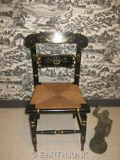 Ethan Allen Black Button Back Chair 14 6011 Gold Hand Decorated Stencils