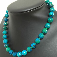Jewelry 10mm Azurite Faceted Round Beads Gemstone women diy Necklace 18 ""