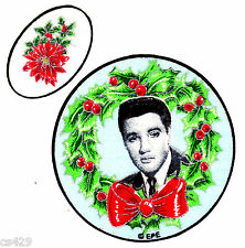 """3"""" ELVIS PRESLEY KING ROCK N ROLL CHRISTMAS HOLIDAY FABRIC APPLIQUE IRON ON"""