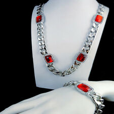 White Gold Finish Red Garnet Ruby Thick Miami Cuban Chain Necklace Bracelet Set