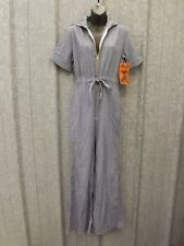 NOS Vtg 1970s 50/50 Denim HICKORY STRIPE JUMPSUIT 13/14 Bell Flare Sailor Collar